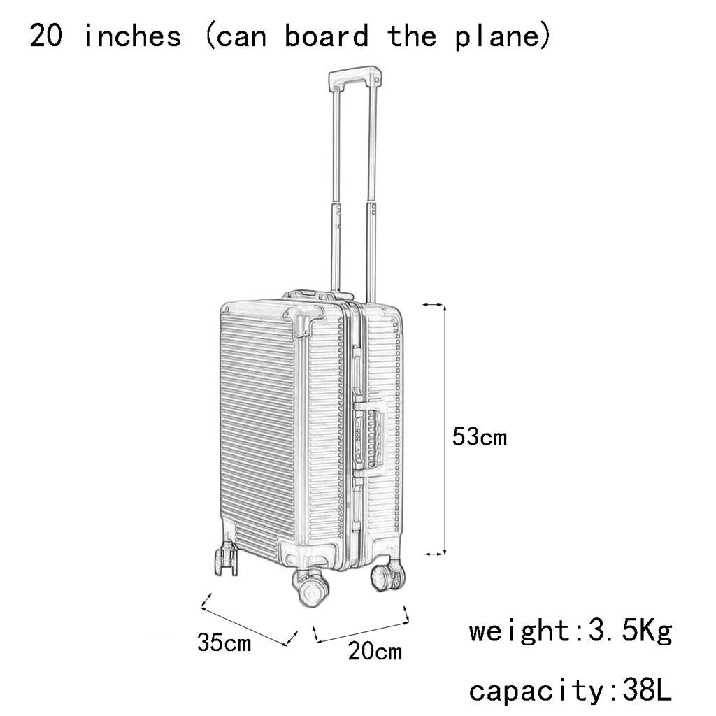 Male and Female Lightweight ABS Portable Consignment Suitcase Trolley Case Lock 4 Wheels Color : Blue, Size : 20 inches CLOUD Luggage Sets Travel Suitcase