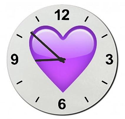 glass watch 20 cm purple heart wall clock shelf clock emoji smiley