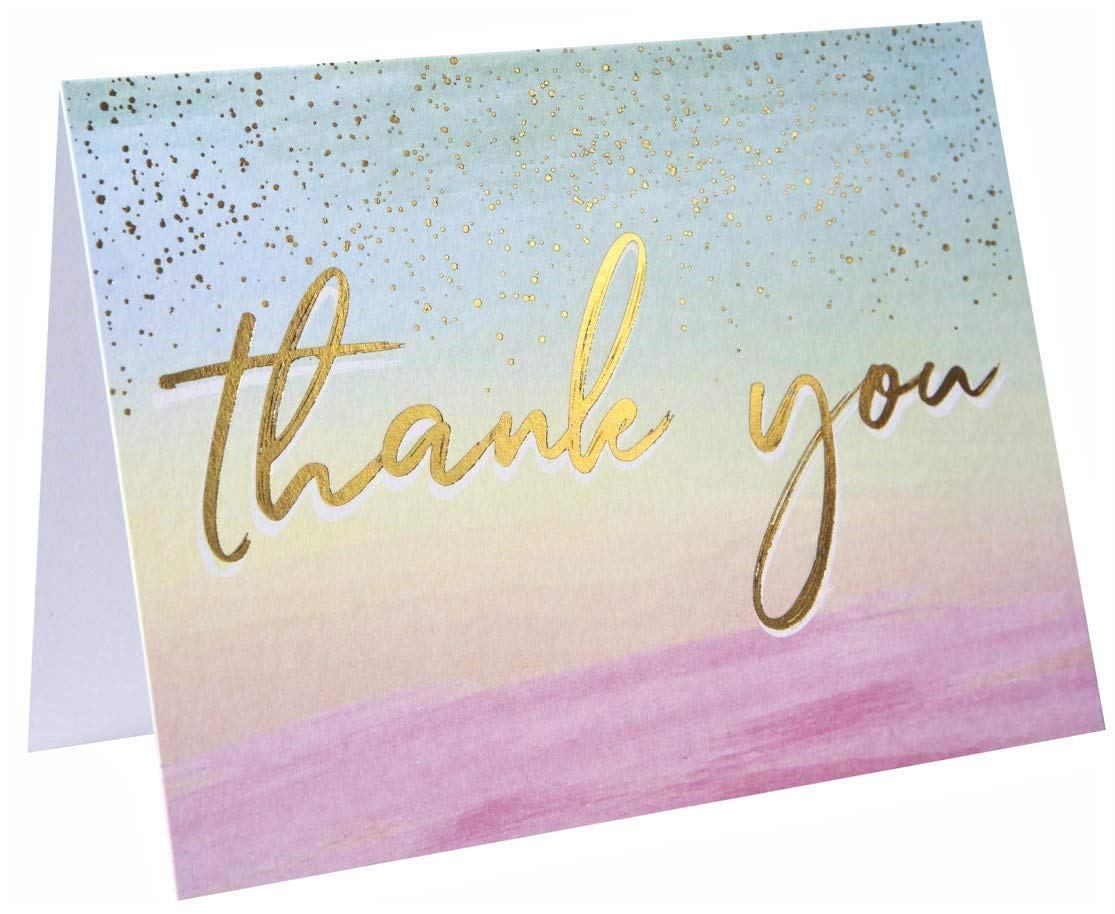 Watercolor Thank You Cards Gold Foil Thank You Cards Best Thank You Cards Elegant Thank You Cards With /'/'Thank you/'/' Embossed In Gold Foil 60 Pack Thank You Cards Include 60 Envelope-3.75 x 5