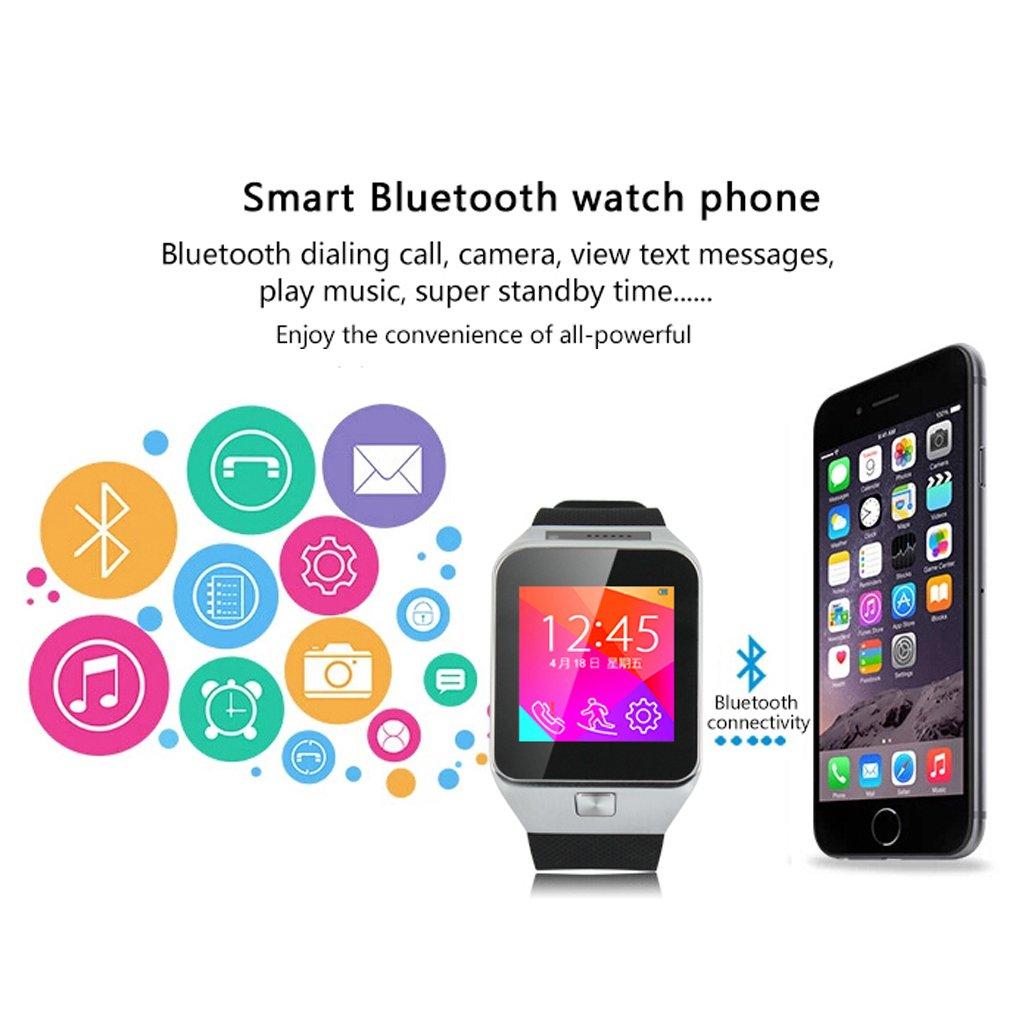 ZGPAX - Reloj inteligente compatible con iPhone 6S, 6S Plus y 5s, Samsung S6, S5 y S4, HTC, LG y Sony (3,9 cm, Bluetooth, función cámara, SIM, ...