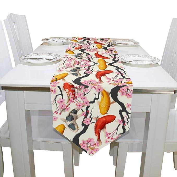 Amazon.com: Camino de mesa de doble cara Koi Fish y Sakura ...