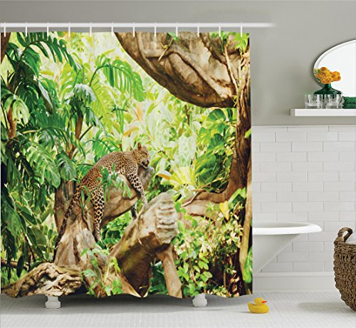 Ambesonne Safari Decor Shower Curtain Set, Leopard On The Branch in Savanna Exotic Macro Tropical Leaf Jungle Wild Nature Art Photo, Bathroom Accessories, 69W X 70L Inches, Brown Green