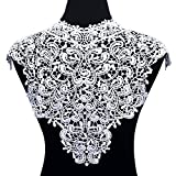 (US) Smiry 2pcs Off-White Lace Trim Embroidered Lace Collar Neckline Venise Applique Sewing Clothing Accessories DIY Lace Applique