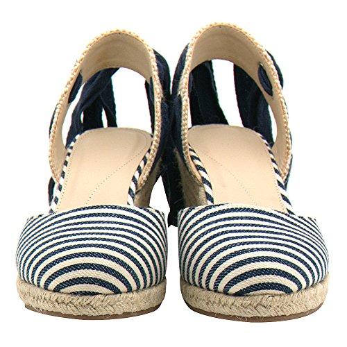 Color Summer Espadrillas Scarpe Stripe Cinghie Ladies Caviglia Rismart 'wedge Sandali fzqHwXAn