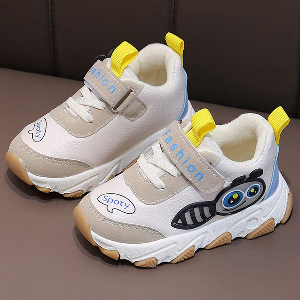 Kids Boys Girls Cute Cartoon Patchwork Casual Sport Sneakers Athletic Shoes for 1-6 Years Old Jchen Little Kids Plush Warm Sneakers Athletic Sports School Shoes