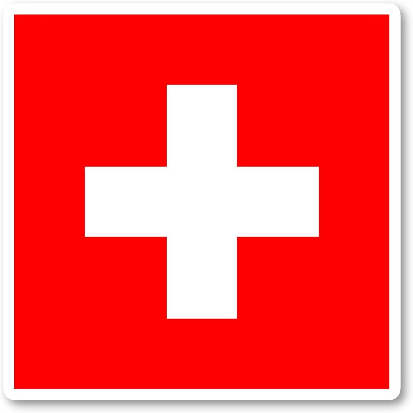Switzerland Swiss Flag Sticker Flag Stickers - Laptop Stickers - Vinyl Decal - Laptop, Phone, Tablet Vinyl Decal Sticker S214736 (4 Inches)