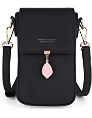 UTO Crossbody Bags for Women Leaf Pendant Card Holder Phone Checkbook Organizer Snap Pocket Purse