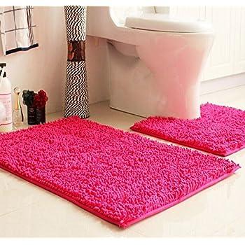 ustide new 2 piece fluffy rugs hot pink chenille door mat toilet contour rug. Black Bedroom Furniture Sets. Home Design Ideas