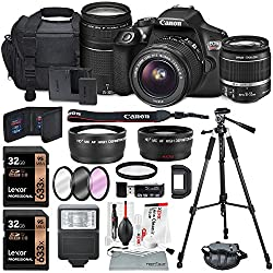 Canon Eos Rebel T6 Dslr Camera Bundle With Ef-s 18-55mm F3.5-5.6 Is Ii Lens, Ef 75-300mm F4-5.6 Iii Lens & Accessories (18 Items)