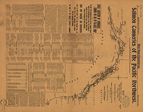 Vintage 1901 Map of Salmon Canneries of the Pacific Northwest. - E476 U.S. Copyright Office - In New York Commercial, April 26, 1901. - Available also through the Library of Congress web site as a raster image. British Columbia, Canada, Pacific Coast, United States