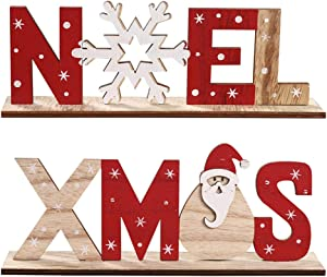 Amosfun Christmas Wood Ornaments Xmas Letters Noel Snowflake Wood Sing Tabletop Decoration for Home Party 2 Pcs
