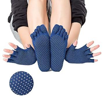 HappyTime Guantes de Yoga Calcetines Set, algodón de Las ...