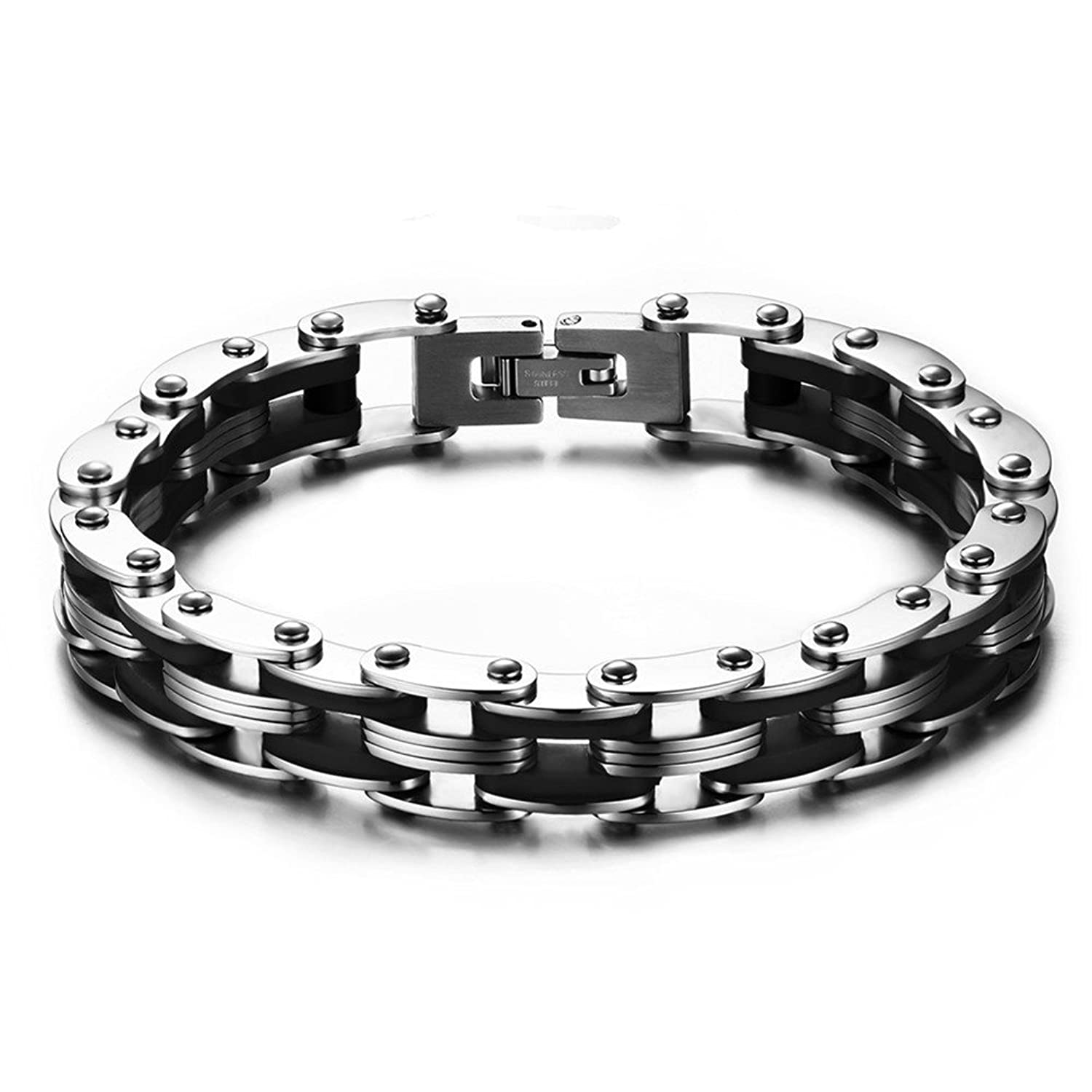 Stainless Steel Black Silicone Men's Bicycle Bike Chain Bracelet for Men,Bold and Chunky