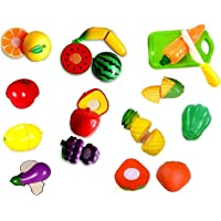 Amitasha Sliceable Fruits Vegetable Cutting Toys Set (Pack of 15) Can Be Cut in 2 Parts