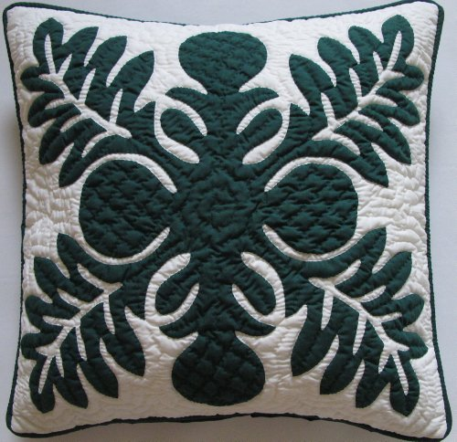 Hawaiian Quilt 2 Pillow Covers, Cushions, 100% Hand Quilted/hand Appliquéd 18