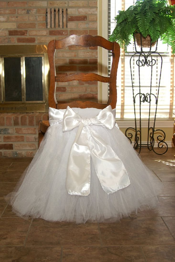 Stuffwholesale Tutu Chair Skirt Prom Party Baby Shower Handmade Satin Bow Knot Tulle Chair Cover (White)