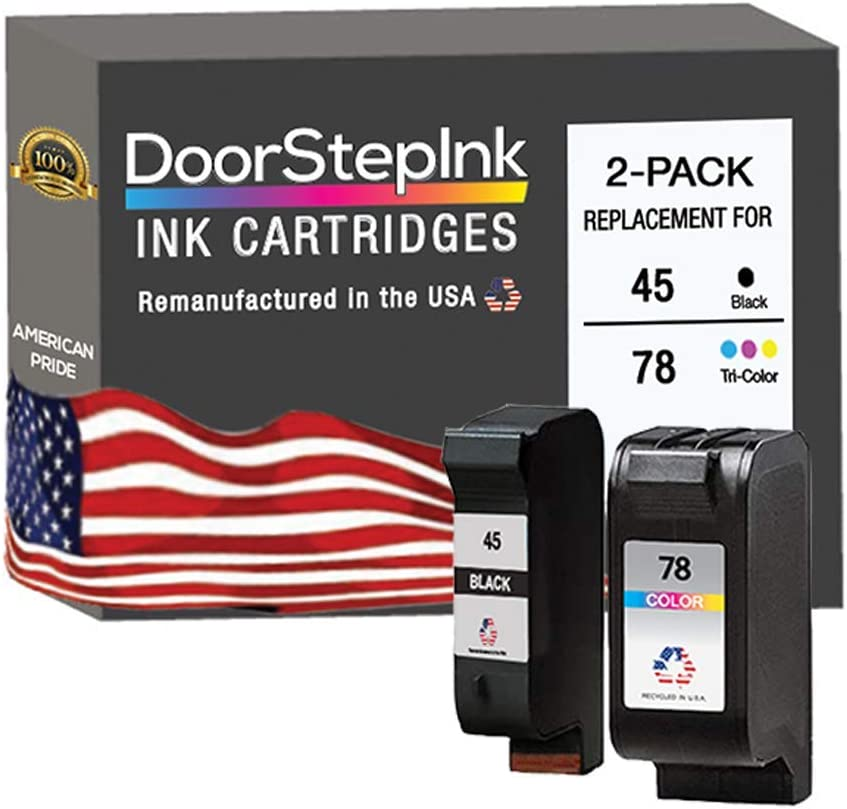 DoorStepInk Remanufactured in The USA Ink Cartridge Replacements for HP 45 C51645AN & HP 78 C6578AN Black and Color Combo Pack for HP Printer Color Copier 110, 120, 140, 145, 150, 155, 160, 170