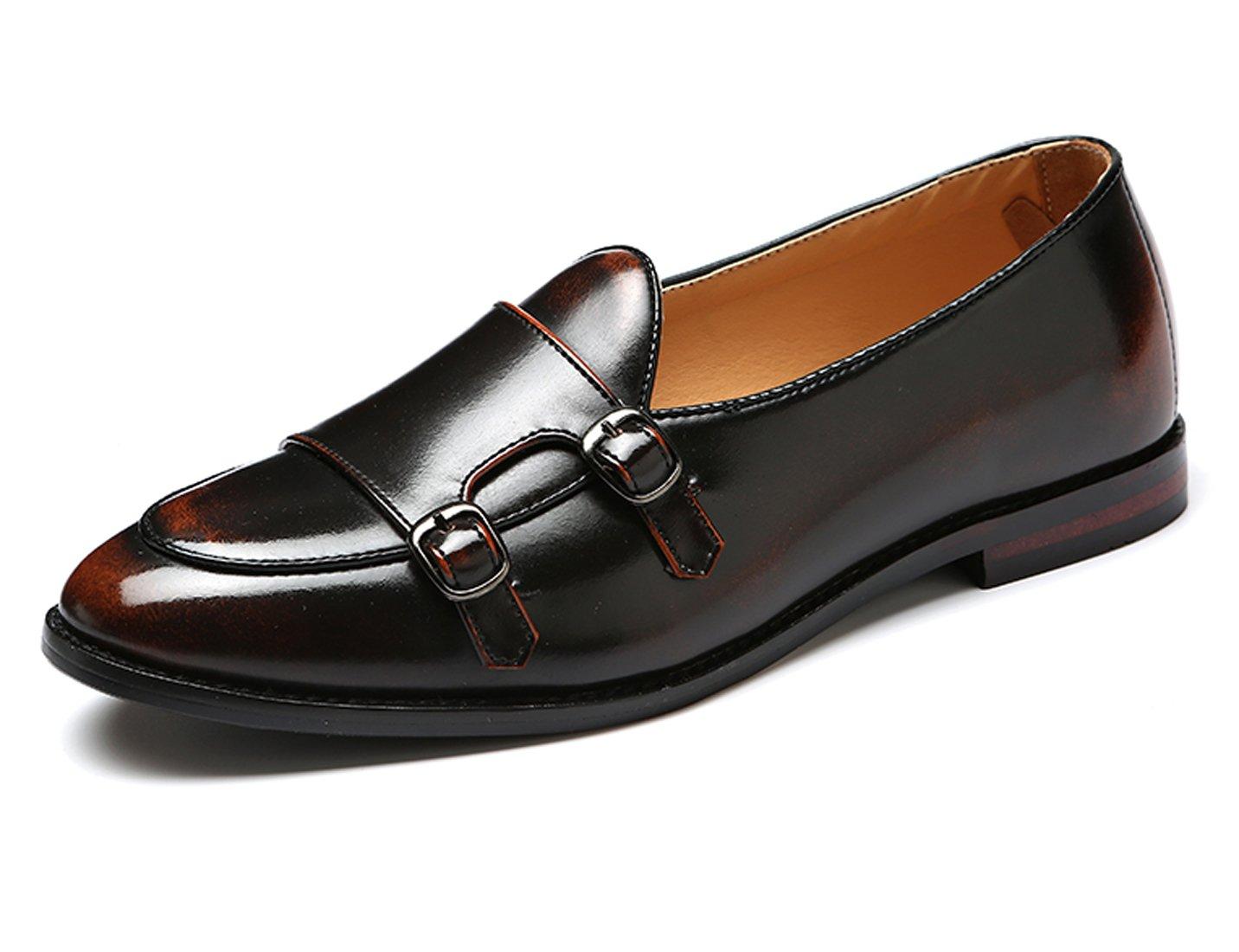 Santimon Italy Luxury Monk Strap Wedding Dress Shoes for Men Leather Handmade Shoes Bronze 8 D(M) US