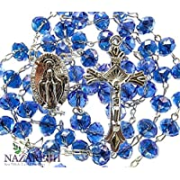 Catholic Blue Beads Rosary Holy Land Necklace Miraculous Medal and Crucifix 17