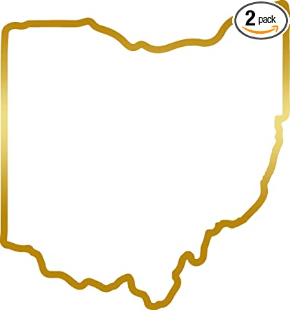 Amazon Com Angdest Ohio Map Outline Metallic Gold Set Of 2