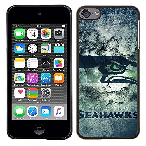 iPod Touch 5 Case, iPod Touch 6 Cases, Seahawks Logo 28 Drop Protection Never Fade Anti Slip Scratchproof Black Hard Plastic Case