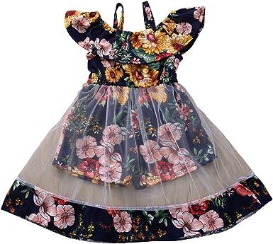 WARMSHOP Princess Dress For Girls Striped Short Sleeve Fashion Off-The-Shoulder Dress