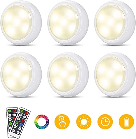 1//6Pack RGB 12 Colors LED Cabinet Light Dimmable Kitchen Puck Lamp Remote HOT