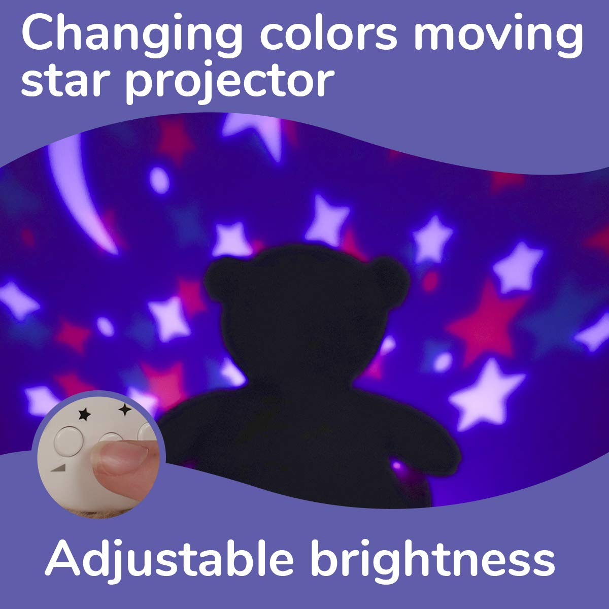 Star Projector 2019 Best Gift Registry for Baby Shower Crib Sleeping /& Calming Aid Cry Sensor Rechargeable White Noise /& Lullabies Sound Machine InfantBay Cozzy Bear Baby Sleep Soother