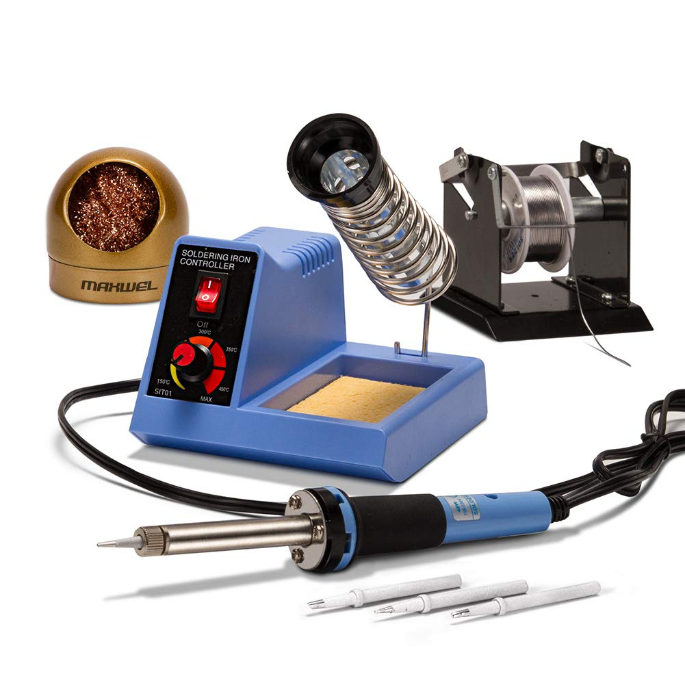Soldering Iron Station Solder Kit - 48W 110V Soldering Tool Set Temp Adjustable Electric Welding for SMD/PCD/DIY Packed with Iron Tips/Solder Wire/Tip Cleaner/Solder Wire Holder