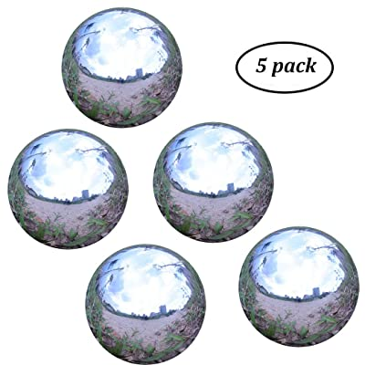 Stainless Steel Gazing Ball for Homes and Gardens Ornament, Hollow Ball Mirror Polished Shiny Sphere, Pack of 5 (2 Inch) : Garden & Outdoor