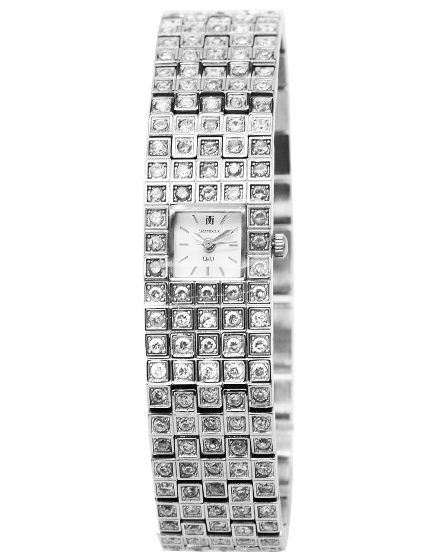 Q&Q Grandeux Damenuhr mit Silberfarbiges armband Analog Quarz Y039-201