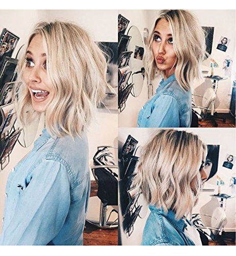 Vedar 2018 Summer Style Flawless- Wob Hair (Wavy Bob Hair) Dirty Blonde Hair Dark Rooted Blonde Lace Front Wigs for Women Shoulder Length 12 inches Wavy Blonde Wigs with Dark Roots Realistic Looking -