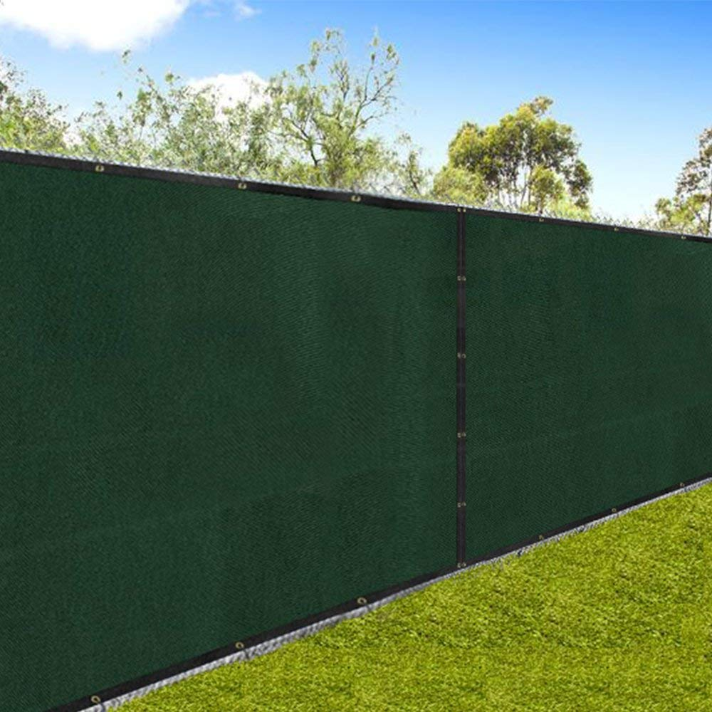 Amagabeli 5'8''x50' Fence Privacy Screen Heavy Duty for 6'x50' Chain Link Fence Fabric Screen with Brass Grommets Outdoor 6ft Patio Construction Fencing 90% Blockage Shade Tarp Mesh UV Resistant Green