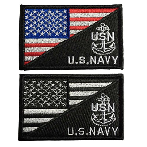 Shoulder Patches Navy - SpaceCar USA Flag & US Navy Army Tactical Morale Badge Hook & Loop Patch - Anchor Bundle 2 Pieces