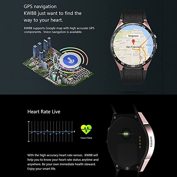 Hanbaili KW88 3G Smart Watch, Sistema operativo Android Podómetro Google Play IP68 del podómetro del Control del Ritmo cardíaco de Bluetooth WiFi, ...