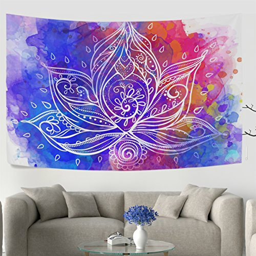 WellLee Ornamental Boho Style Lotus Flower Geometric Wall