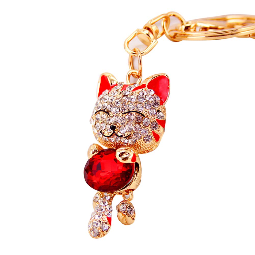 1pc Mini Pocket Lucky Smile Cat Keychain Crystal Purse Keys Chains Rings Cute and Utility Keyrings Creative Design Keychain(Red) Wudi