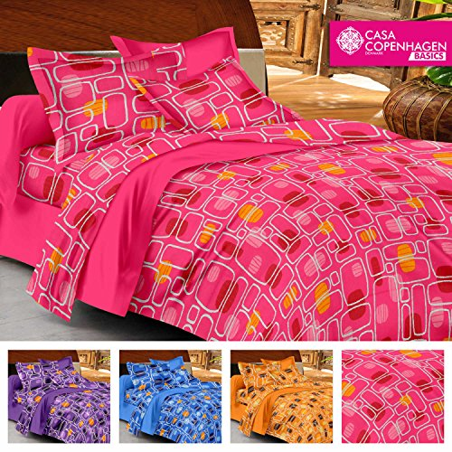 Casa Basics -144 TC Ezy Collection Pink Checkered 100% Cotton Double Bedsheet With 2 Pillow Covers