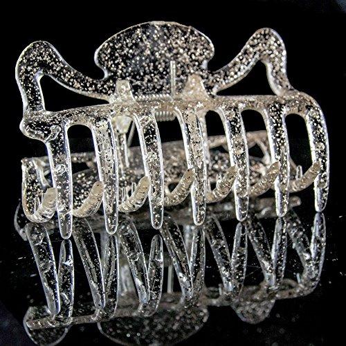 1Stk Haarkralle groß 9cm in kristall mit silbernem glitter - Made in Germany - WeLoveBeads