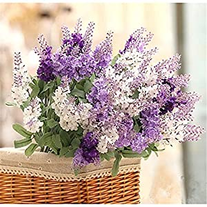 JJH Artificial Flowers 1Pcs Branch Silk Plastic Lavender Tabletop Flower 24