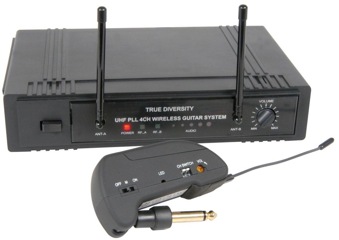 E-Gitarre kabelloses Funk-Übertragungsset UHF 4-Kanäle bis 30m ...