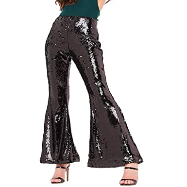 a68d0ca83859e1 Womens Glitter Sequin Trousers High Waisted Stretchy Bell Bottom Flared  Palazzo Pants Leggings Performance Trousers (