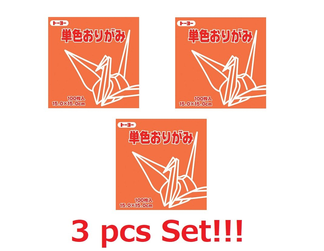 [3-packs set] Toyo Origami Paper Single Color - Orange - 15cm, 100 Sheets