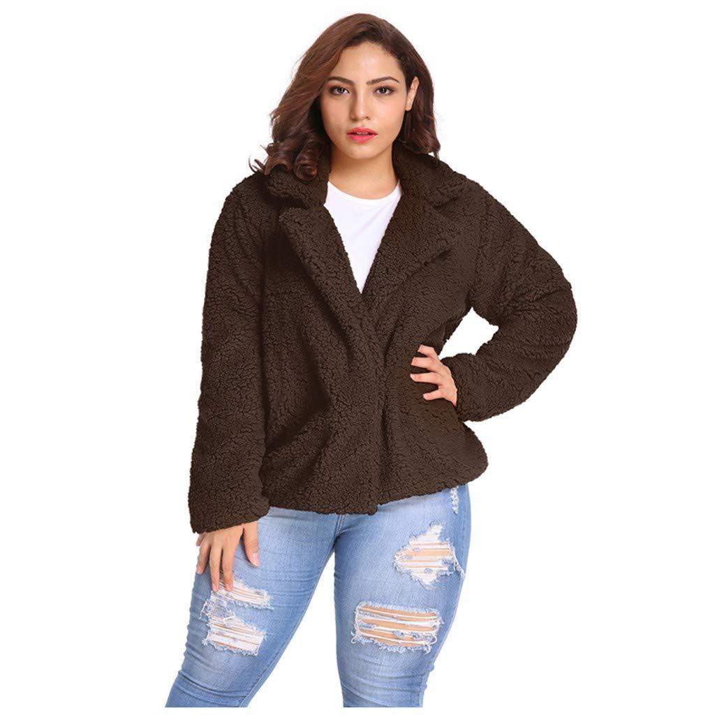 Shusuen Women's Coat Casual Lapel Fleece Fuzzy Faux Shearling Zipper Coats Warm Winter Oversize Outwear Jackets Brown by Shusuen_Clothes