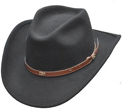 85f74d7c047 Black Wool Flexible Durable Cowboy Hat at Amazon Men s Clothing store
