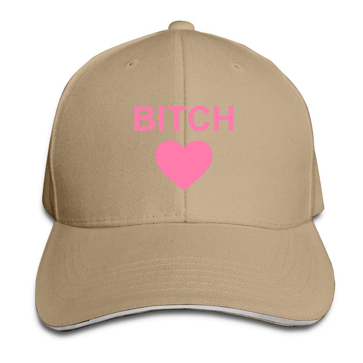 WFIRE Adult Baseball Caps Bitch Heart Custom Adjustable Sandwich Cap Casquette Hats