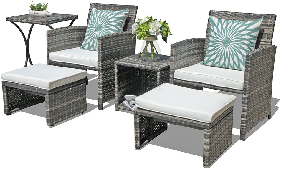OC Orange-Casual Outdoor Wicker Furniture Set 6 Piece Patio Conversation Chat Set with Ottoman Footstool Storage Side Table Box Lawn Pool Balcony