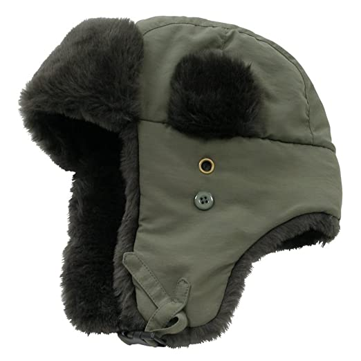 Decky Faux Fur Trooper Police Aviator Style Winter Hat (Olive 8cb5f9ec0cf