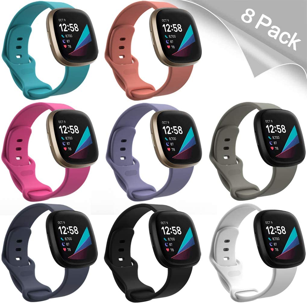 Fitbit Sense,Soft Silicone Adjustable Strap Waterproof Sport Replacement Wristband for Men Women,8 Pack Small Huadea Bands Compatible with Fitbit Versa 3