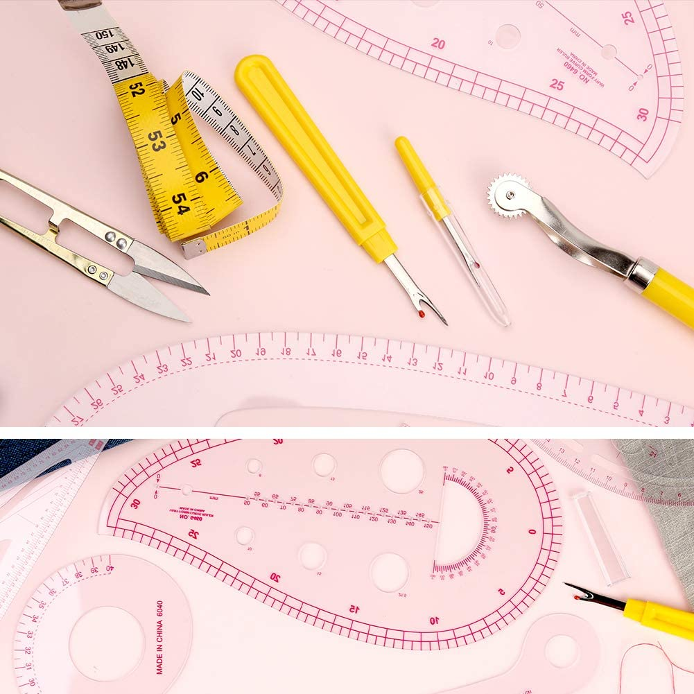 Sewing Ruler 4 Style Clothing Patterning Ruler Sew French Curve Ruler Metric Shaped Plastic Sewing Tools Include Seam Ripper Tracing Wheel Sewing Templates Perfect for Designers Pattern Maker